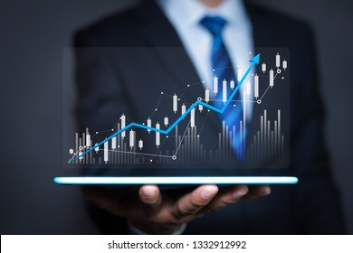 Data analytics report and key performance indicators on information dashboard for Business strategy, Stock market indicator or forex trading graph and financial investment