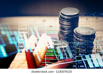 "Data analyzing in Forex, Commodities, Equities, Fixed Income and Emerging Markets: the charts and summary info show about ""Business statistics and Analytics value"". -Digital information in dark tone."