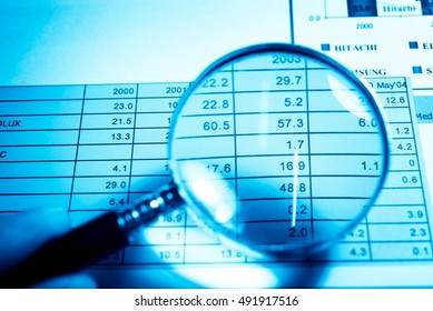 Data analyzing in Forex market with magnifying glass, pen and calculator. the charts and summary info on paper. Charts of financial instruments for technical analysis.