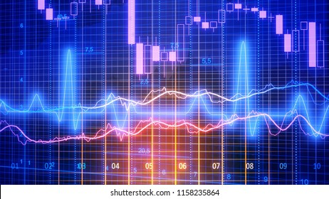 Data analyzing in forex market trading: the charts and summary info for making trading. Charts of financial instruments for technical analysis. Stock trading market background as concept.