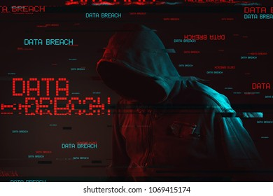Data breach concept with faceless hooded male person, low key red and blue lit image and digital glitch effect