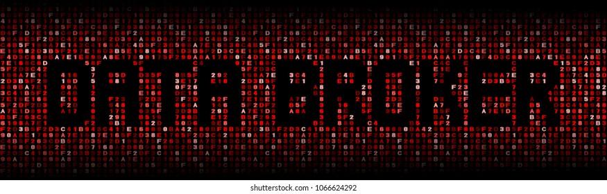 Data Broker text on red hex background illustration