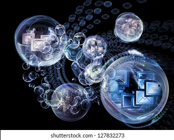 Data Bubble series. Abstract design made of telecommunication symbols and design elements on the subject of communication and information technologies