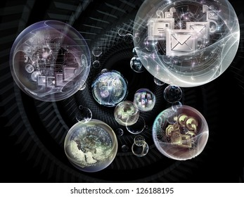 Data Bubble series. Artistic background made of telecommunication symbols and design elements for use with projects on communication and information technologies
