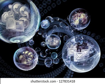 Data Bubble series. Backdrop of telecommunication symbols and design elements on the subject of communication and information technologies