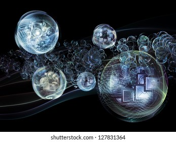 Data Bubble series. Background design of telecommunication symbols and design elements on the subject of communication and information technologies