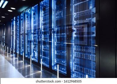 data center in server room with server racks - Shutterstock ID 1612968505