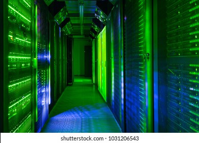 Data center, server room. Web internet and network telecommunication technology, big data storage, cloud computing computer service business concept.
