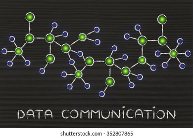 data communication: technology and internet inspired abstract glowing network illustration