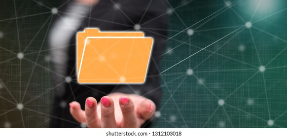 Data concept above the hand of a woman in background