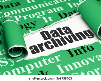 Data concept: black text Data Archiving under the piece of  torn paper