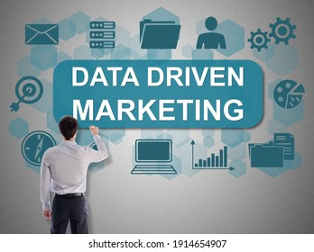 Data driven marketing concept drawn by a businessman