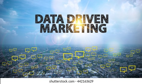 DATA DRIVEN MARKETING  text on city and sky background with bubble chat ,business analysis and strategy as concept