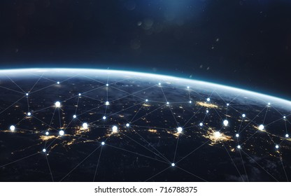 Data exchange and global network over the world. Earth at night,