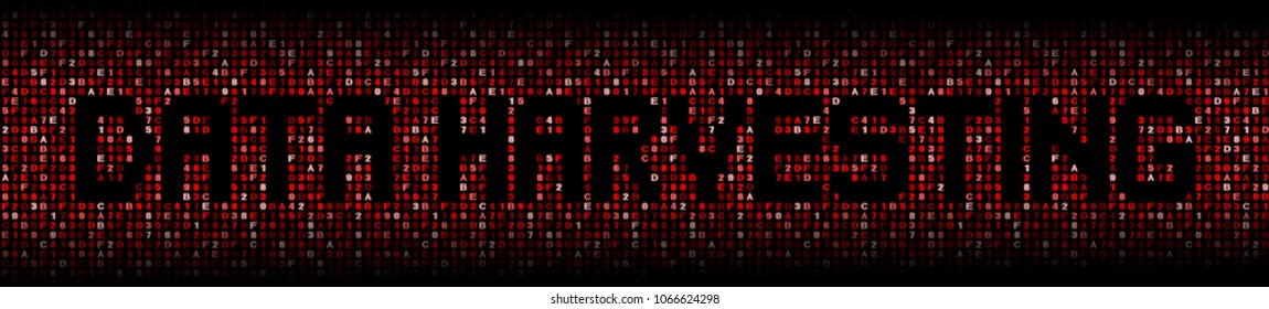 Data Harvesting text on red hex background illustration