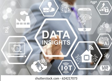 Data Insight Analysis business industry 4.0. Man touched data insight words icon on virtual screen. Digital smart city concept. Industrial modern integration manufacturing engineering technology.