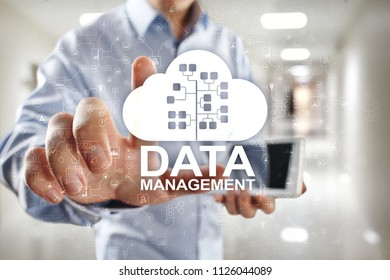 Data management, database manager, cloud technology concept.