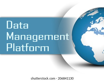 Data Management Platform concept with globe on white background