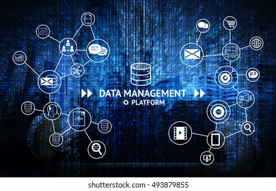 Data Management Platform (DMP) concept. Infographic , texts and icons on matrix code blue abstract background. Marketing and crm concept