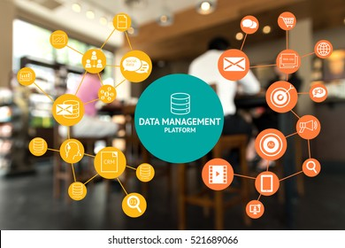 Data Management Platform (DMP) , Marketing and crm concept. Infographic , texts and icons on coffee retail shop background.