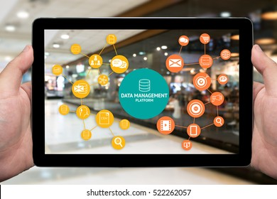 Data Management Platform (DMP) , Marketing and crm concept. Hand holding tablet , infographic , texts and icons on retail department store shop background.