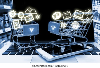 Data Management Platform marketing crm and smart retail concept. Infographic with two shopping carts on smart phone laptop in retail shop background
