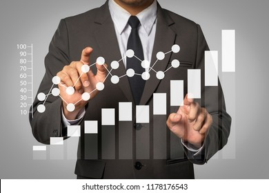Data Management System with businessman working with provide information for Key Performance Indicators and marketing analysis onn virtual computer