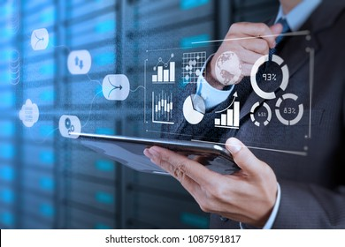 Data Management System (DMS) with Business Analytics concept. businessman working with provide information for Key Performance Indicators (KPI) and marketing analysis onn virtual computer