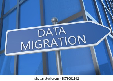 Data Migration - 3d render text  illustration with street sign in front of office building.