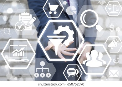 Data Mining Business Intelligence Service Network Web Concept. Information Collection Process of a Sales Funnel audience clients target and profit. Man offers funnel gear icon on virtual screen.