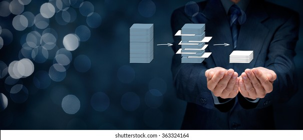Data mining (dataminig) process and big data analysis (bigdata) issue concept. Analyst give you structured and relevant data. Wide banner composition with bokeh in background.