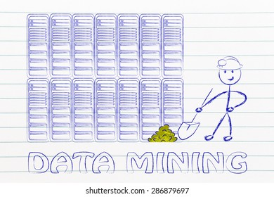 data mining: metaphor of man extracting gold nuggets in a server room, symbol of valuable data