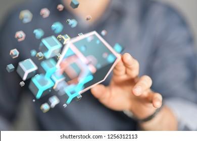 data net in hand