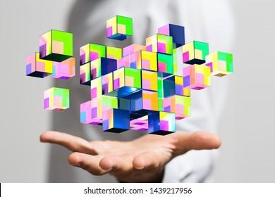 data netwotk digital in hand