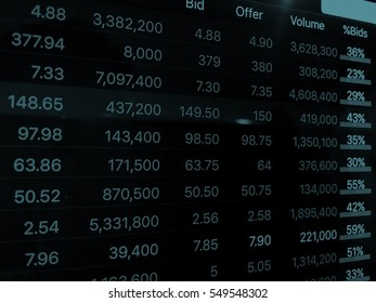 Data on screen in blue tone,business concept
