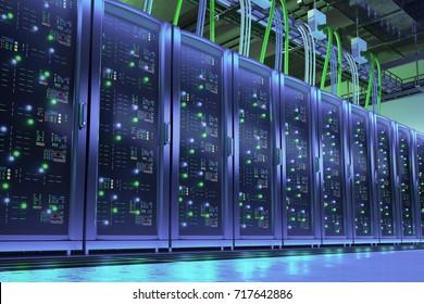 Data processing center. Server room. 3d