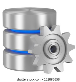 Data processing concept icon: Database with blue elements and metal cogwheel isolated on white background