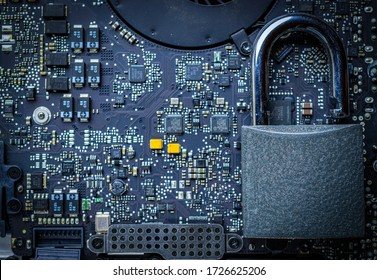 Data protecting Security Concept. Computer Internet protection with lock, key on microscheme chip. System Shield Protection Verification.