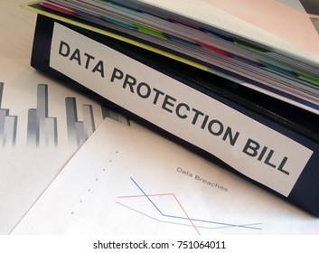 Data Protection Bill Folder on Desk