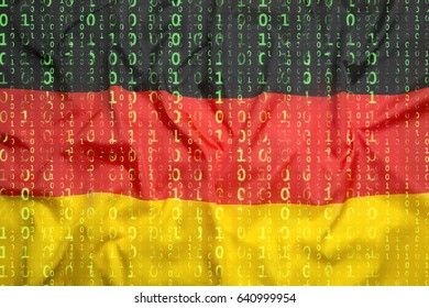 Data protection, binary code with Germany flag