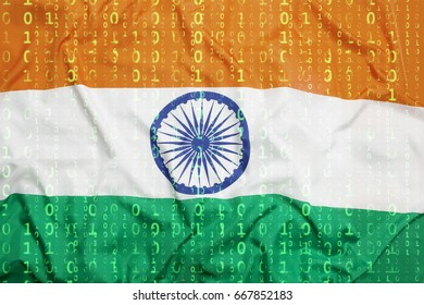 Data protection, binary code with India flag