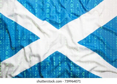 Data protection, binary code with Scotland flag