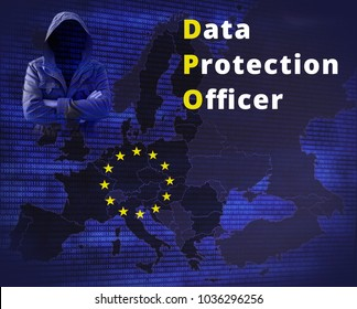 Data protection officer - GDPR - General Data Protection Regulation. EU flag star and map