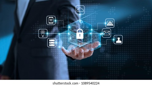 Data protection privacy concept. GDPR. EU. Cyber security network. Business man protecting his data personal information. Padlock icon and internet technology networking connection on virtual screen.
