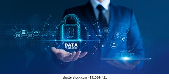 Data protection privacy concept. GDPR. EU. Cyber security network. Business man protecting data personal information and virtual interface. Padlock icon and internet technology networking connection.