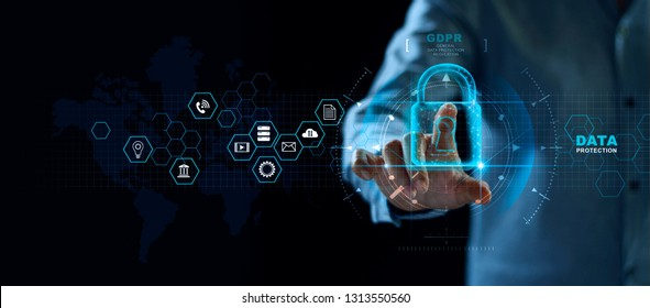 Data protection privacy concept. GDPR. EU. Cyber security network. Business man protecting data personal information and interface. Padlock icon and internet technology networking connection digital.