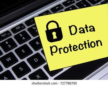 Data Protection Sticky Note/Sign on Laptop