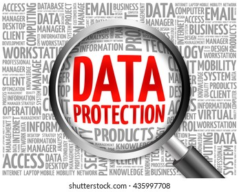 Data protection word cloud with magnifying glass, business concept 3D illustration
