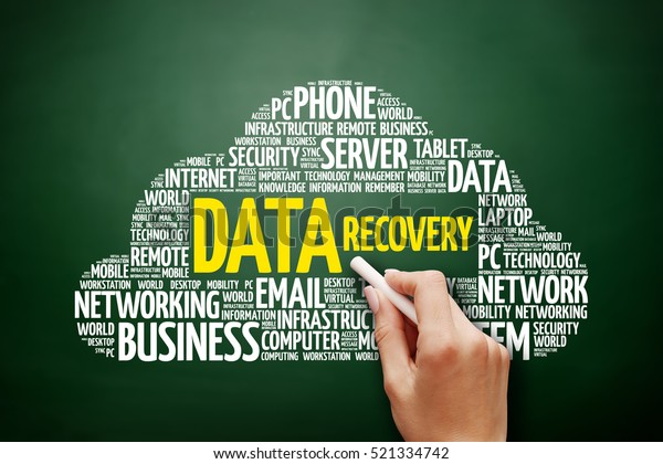 Data Recovery word cloud collage, technology concept on blackboard