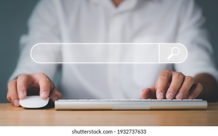 Data Search Technology Search Engine Optimization. man's hands are using a computer keyboard to Searching for information. Using Search Console with your website.